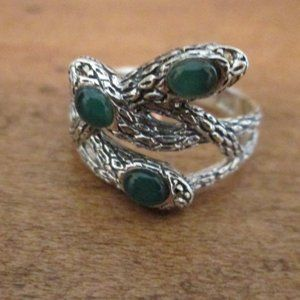 2/$20 Sterling Silver Snake Green Chalcedony Ring